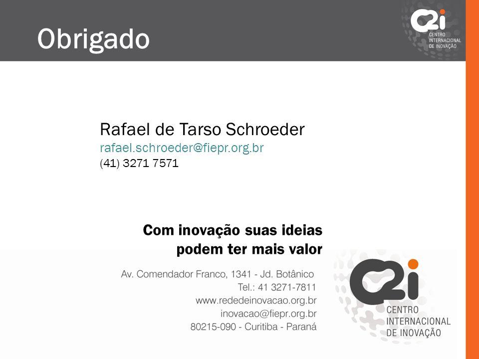 Obrigado Rafael de Tarso Schroeder Com inovação suas ideias