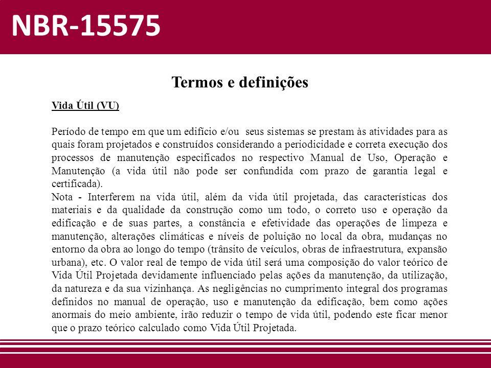 NBR-15575 Termos e definições Vida Útil (VU)
