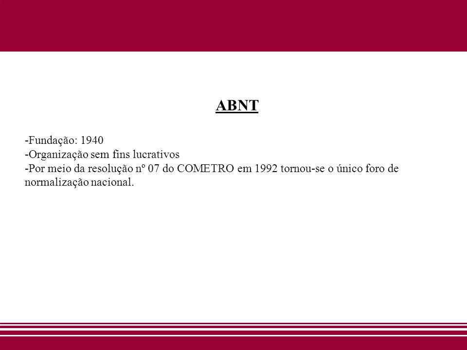 ABNT -Fundação: 1940 -Organização sem fins lucrativos