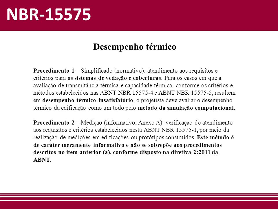 NBR-15575 Desempenho térmico