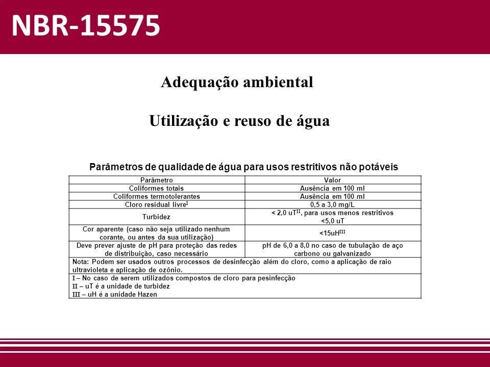 NBR-15575 Adequação ambiental Utilização e reuso de água