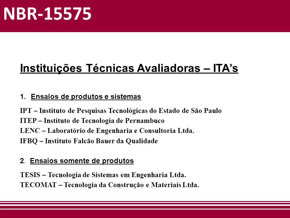 NBR-15575 Instituições Técnicas Avaliadoras – ITA's