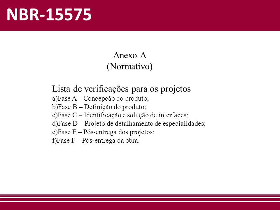 NBR-15575 Anexo A (Normativo) Lista de verificações para os projetos
