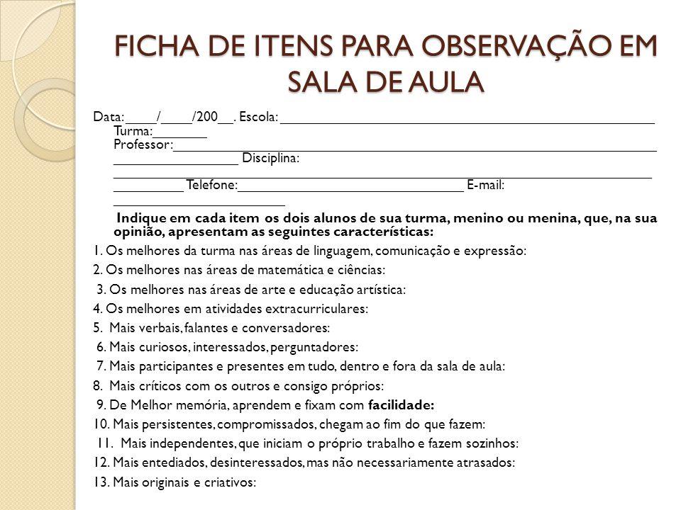 FICHA DE ITENS PARA OBSERVAÇÃO EM SALA DE AULA