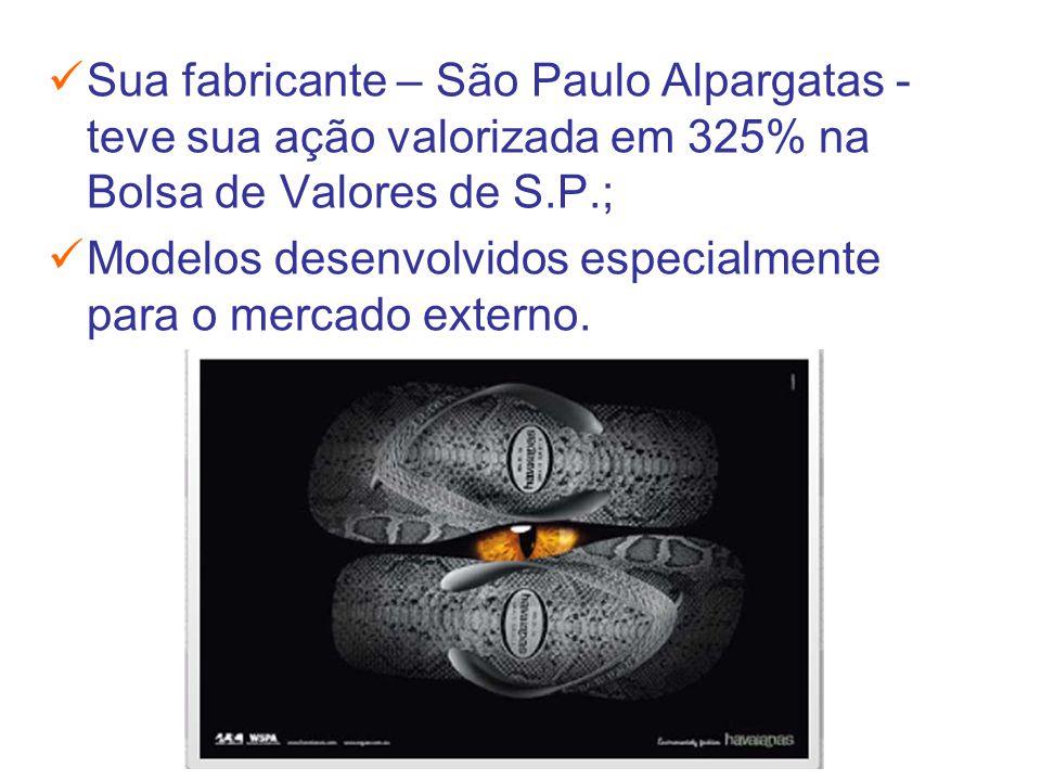 Sua fabricante – São Paulo Alpargatas - teve sua ação valorizada em 325% na Bolsa de Valores de S.P.;