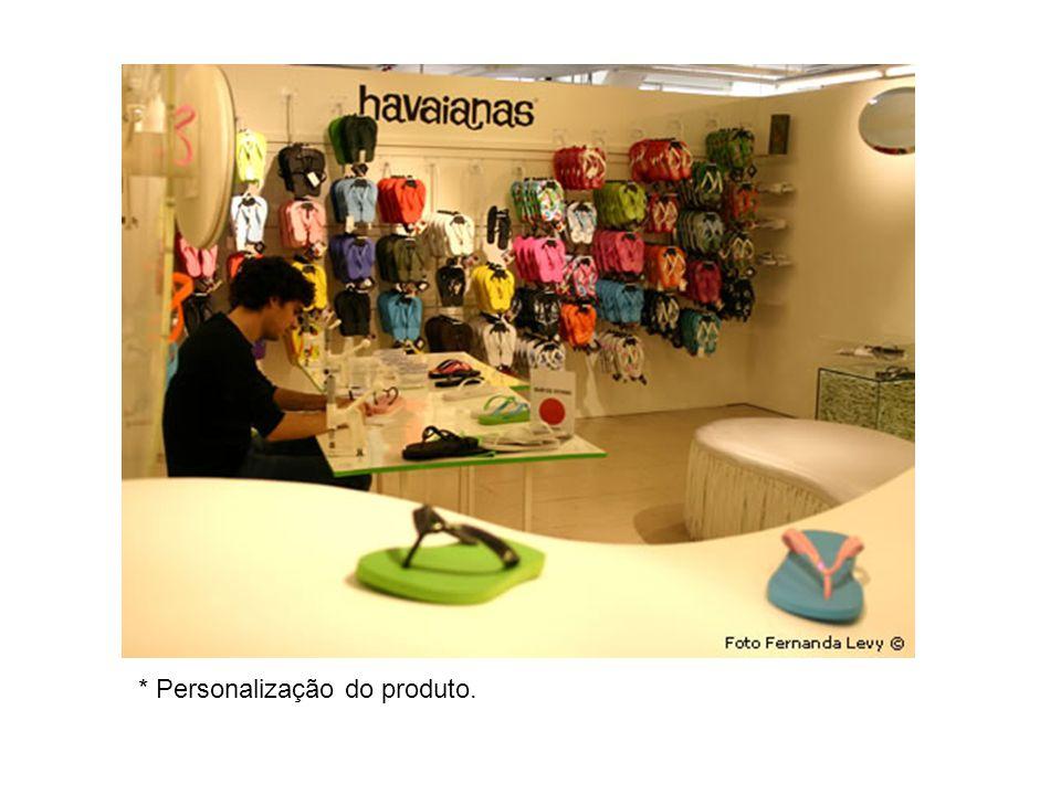 * Personalização do produto.