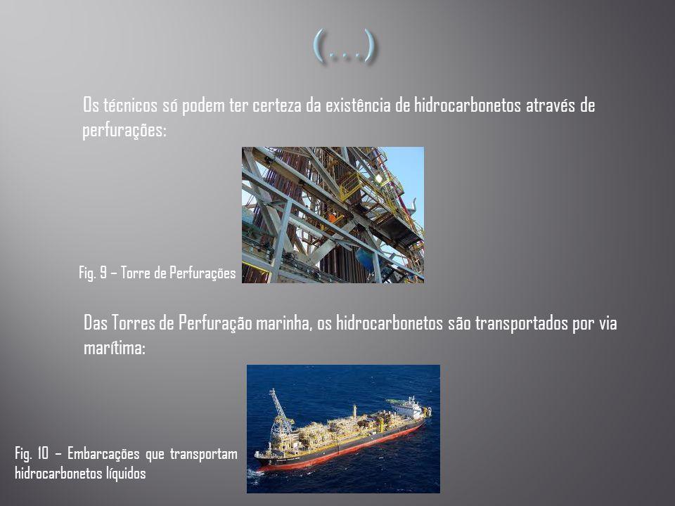 (…) Os técnicos só podem ter certeza da existência de hidrocarbonetos através de perfurações: Fig. 9 – Torre de Perfurações.