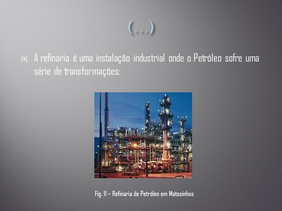 (…) A refinaria é uma instalação industrial onde o Petróleo sofre uma série de transformações: Fig.