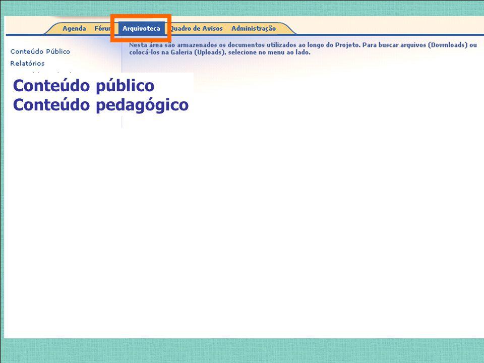 Conteúdo público Conteúdo pedagógico