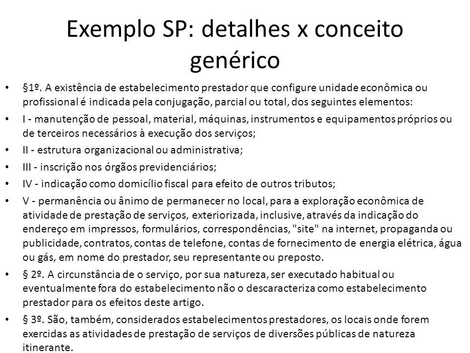 Exemplo SP: detalhes x conceito genérico