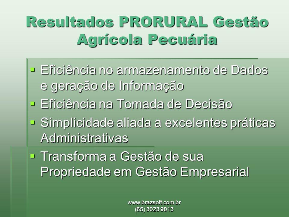 Resultados PRORURAL Gestão Agrícola Pecuária