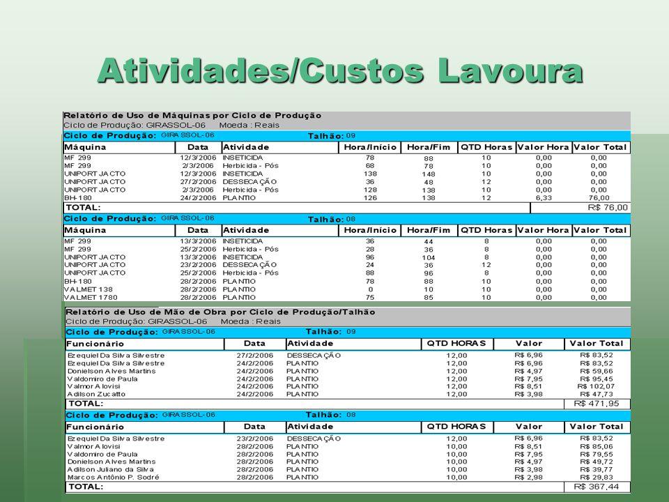 Atividades/Custos Lavoura