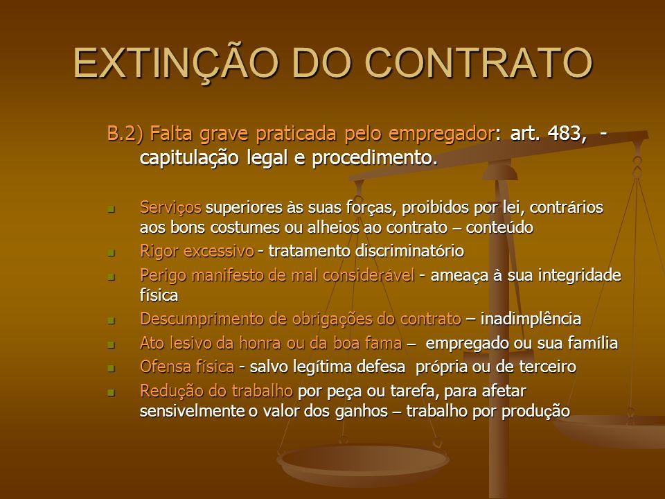 EXTINÇÃO DO CONTRATO B.2) Falta grave praticada pelo empregador: art. 483, - capitulação legal e procedimento.