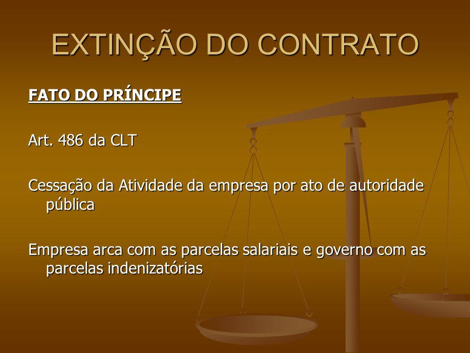 EXTINÇÃO DO CONTRATO FATO DO PRÍNCIPE Art. 486 da CLT