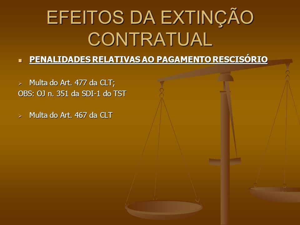 EFEITOS DA EXTINÇÃO CONTRATUAL