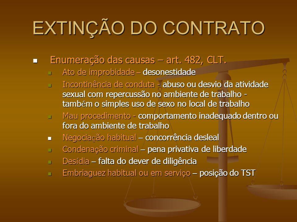 EXTINÇÃO DO CONTRATO Enumeração das causas – art. 482, CLT.