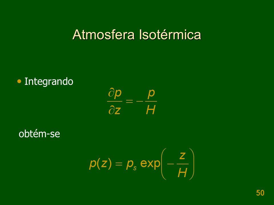 Atmosfera Isotérmica Integrando obtém-se