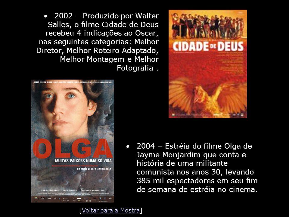 2002 – Produzido por Walter Salles, o filme Cidade de Deus recebeu 4 indicações ao Oscar, nas seguintes categorias: Melhor Diretor, Melhor Roteiro Adaptado, Melhor Montagem e Melhor Fotografia .