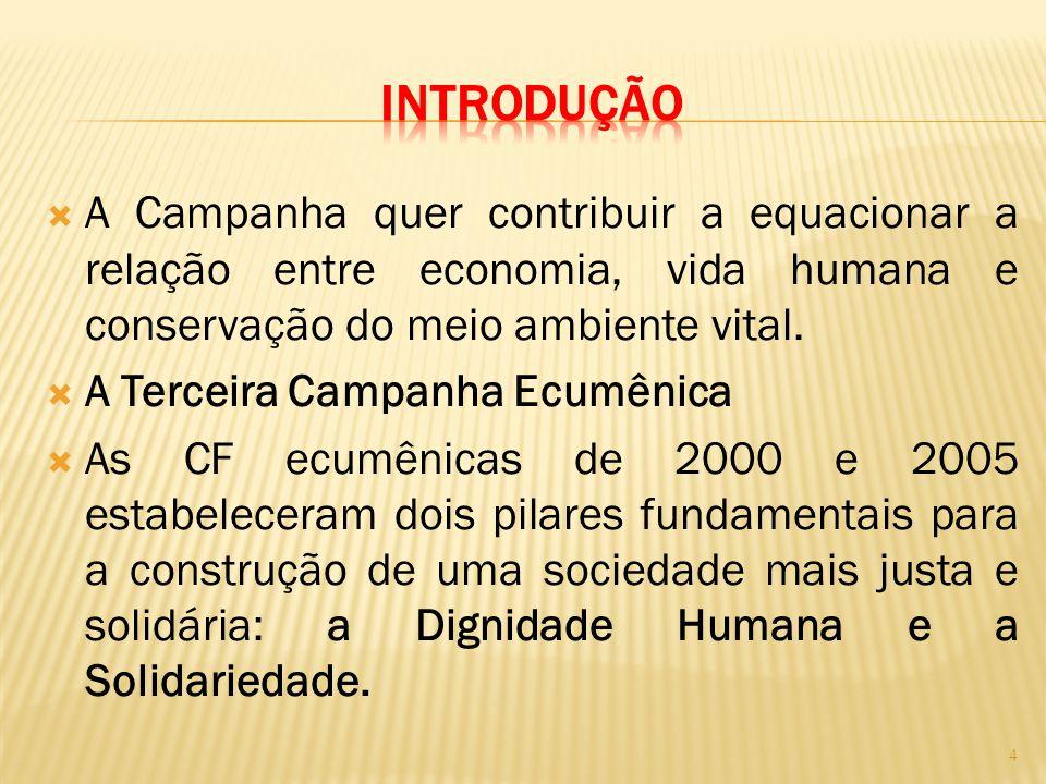 INTRODUÇÃO A Campanha quer contribuir a equacionar a relação entre economia, vida humana e conservação do meio ambiente vital.