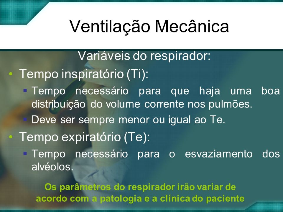 Variáveis do respirador: