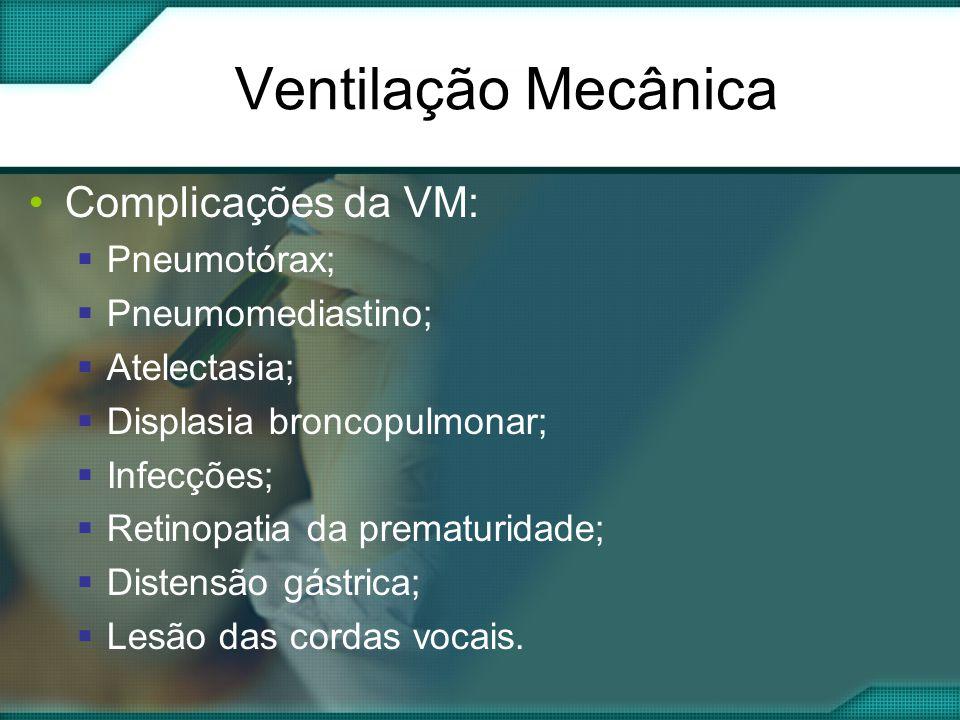 Ventilação Mecânica Complicações da VM: Pneumotórax; Pneumomediastino;