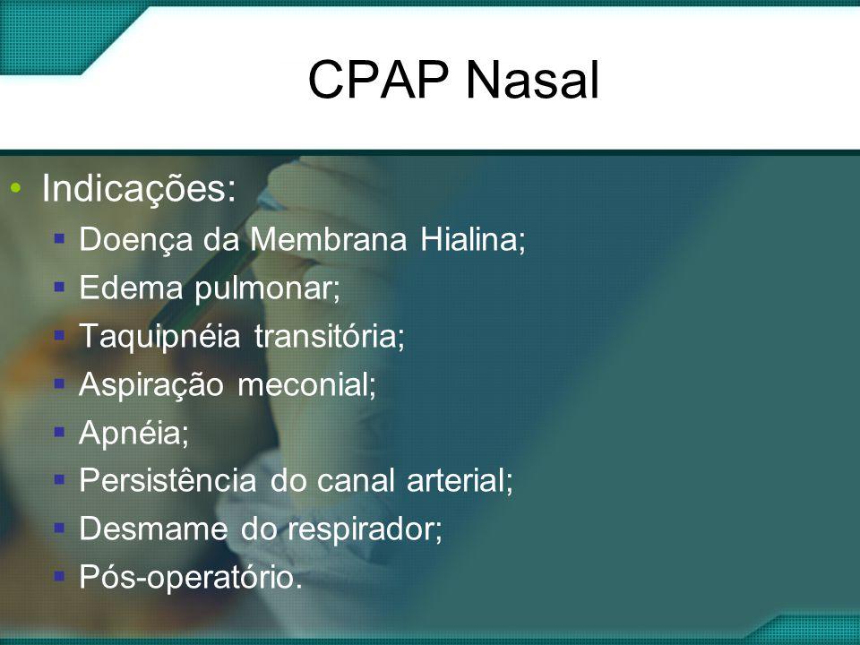 CPAP Nasal Indicações: Doença da Membrana Hialina; Edema pulmonar;
