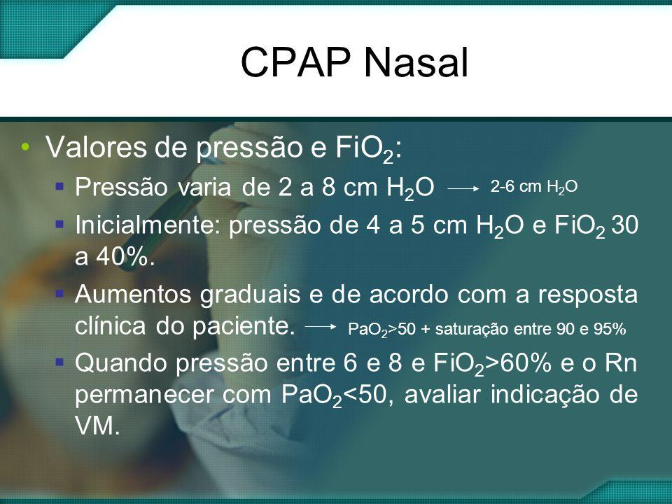 CPAP Nasal Valores de pressão e FiO2: Pressão varia de 2 a 8 cm H2O