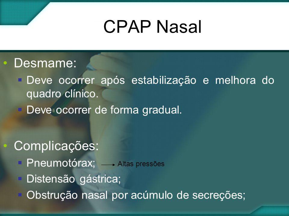 CPAP Nasal Desmame: Complicações: