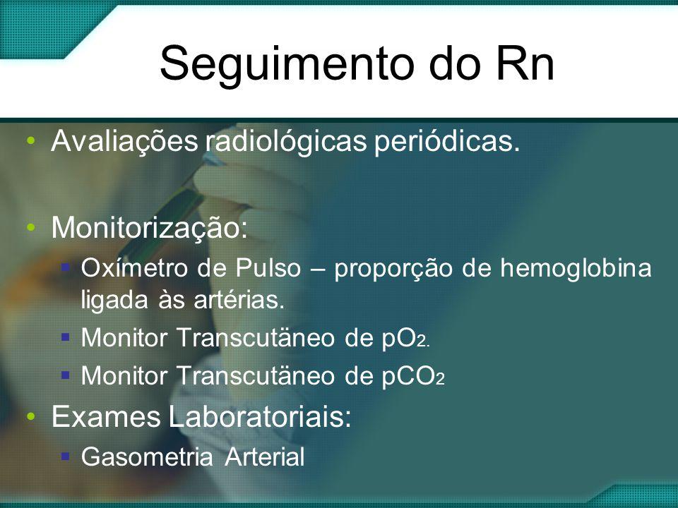Seguimento do Rn Avaliações radiológicas periódicas. Monitorização: