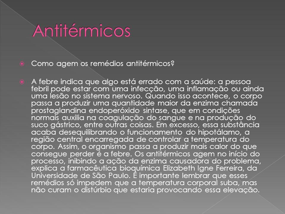 Antitérmicos Como agem os remédios antitérmicos