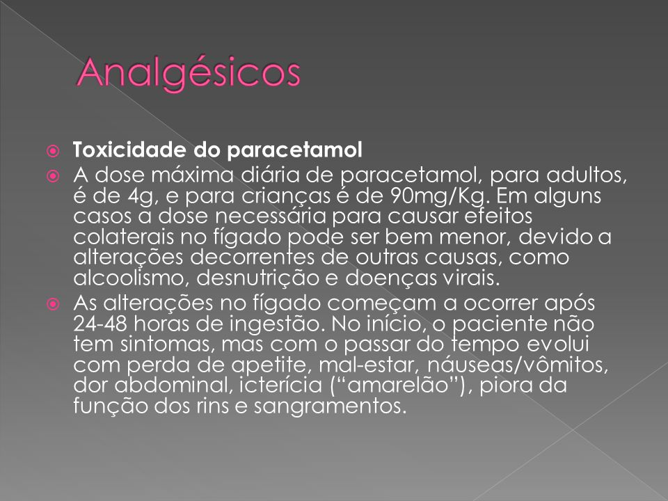 Analgésicos Toxicidade do paracetamol