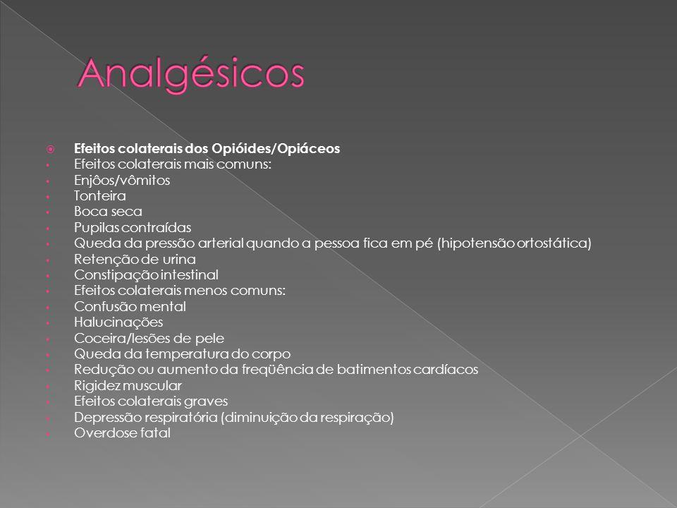 Analgésicos Efeitos colaterais dos Opióides/Opiáceos