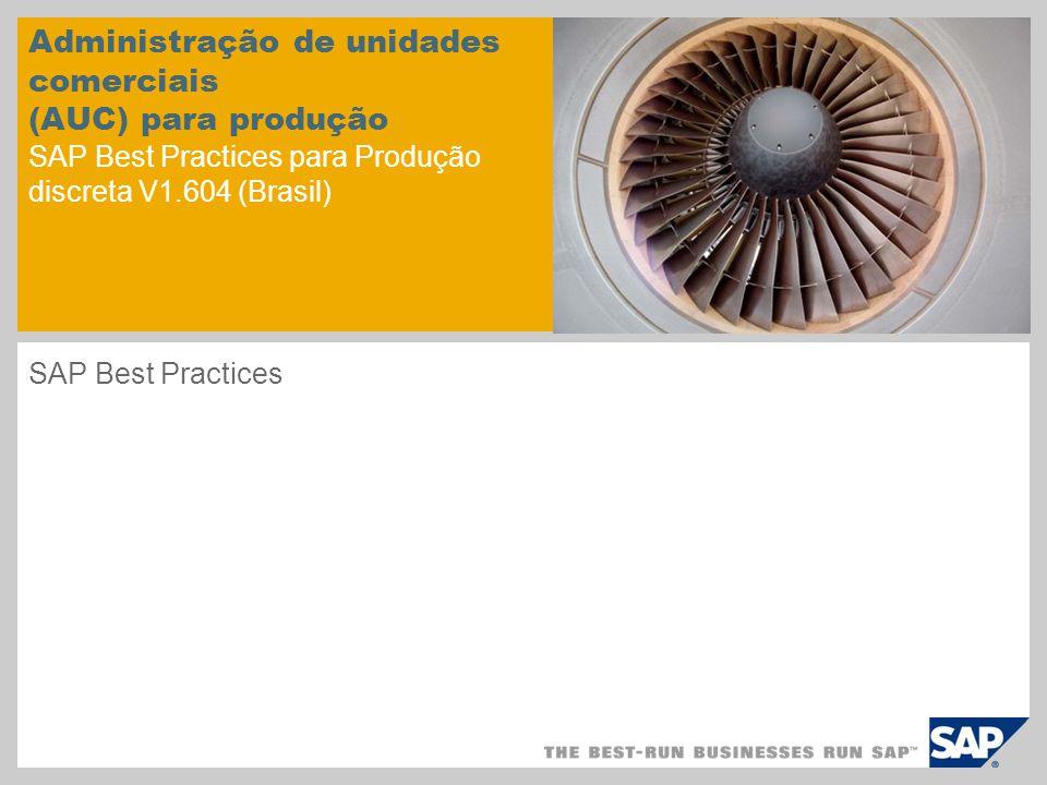 Administração de unidades comerciais (AUC) para produção SAP Best Practices para Produção discreta V1.604 (Brasil)