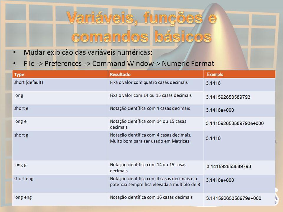 Variáveis, funções e comandos básicos