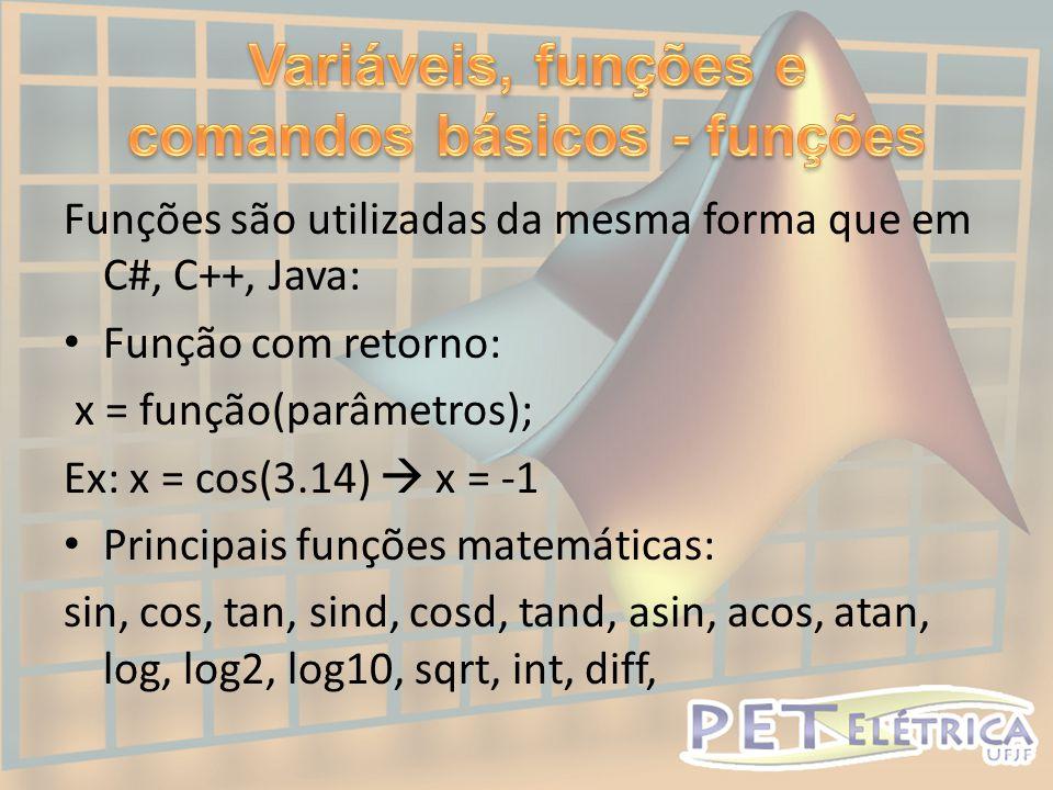 Variáveis, funções e comandos básicos - funções