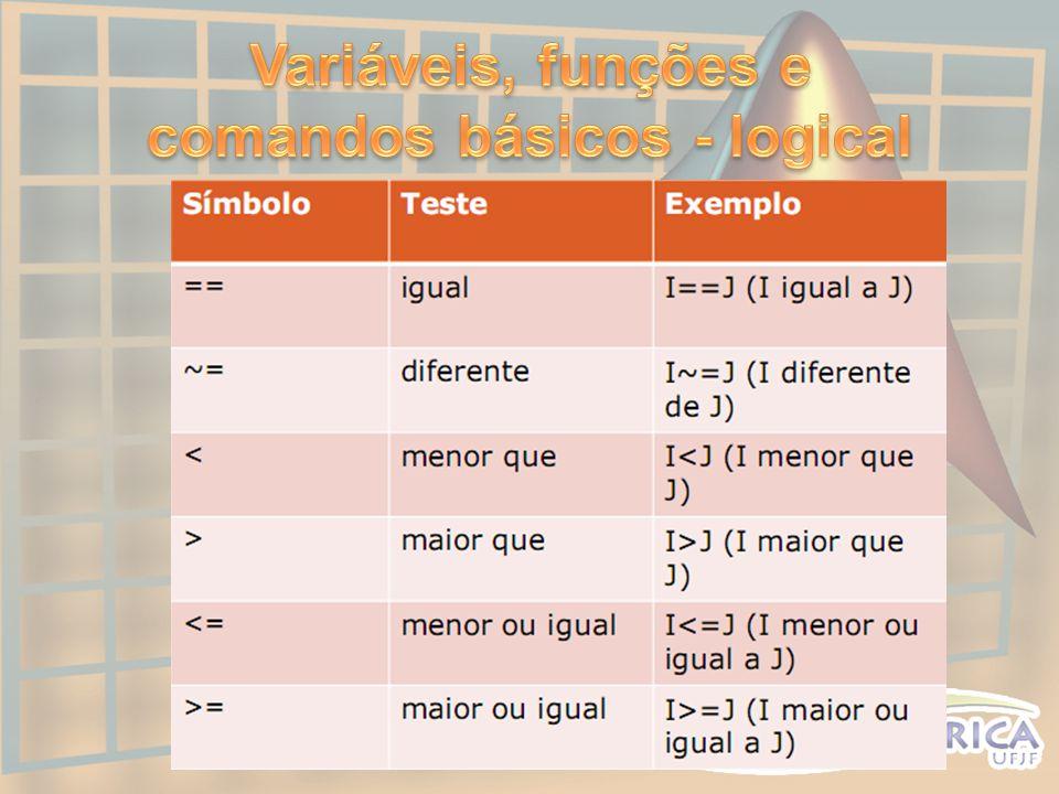Variáveis, funções e comandos básicos - logical