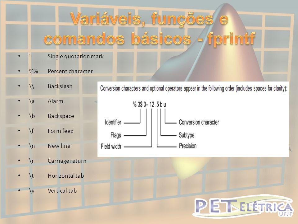 Variáveis, funções e comandos básicos - fprintf