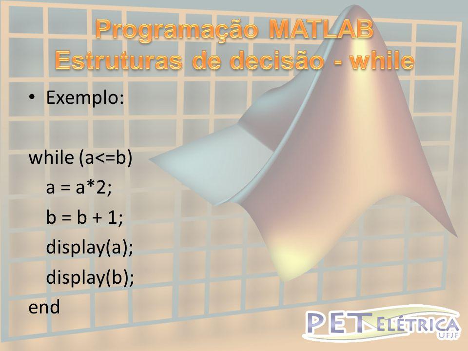 Programação MATLAB Estruturas de decisão - while
