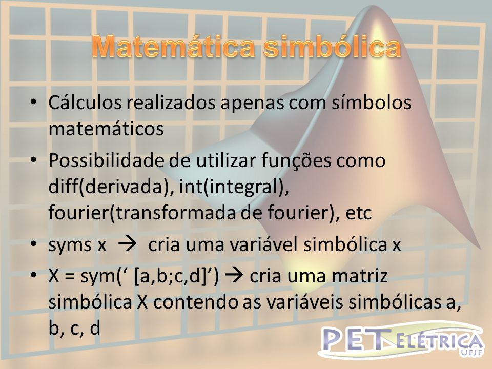 Matemática simbólica Cálculos realizados apenas com símbolos matemáticos.