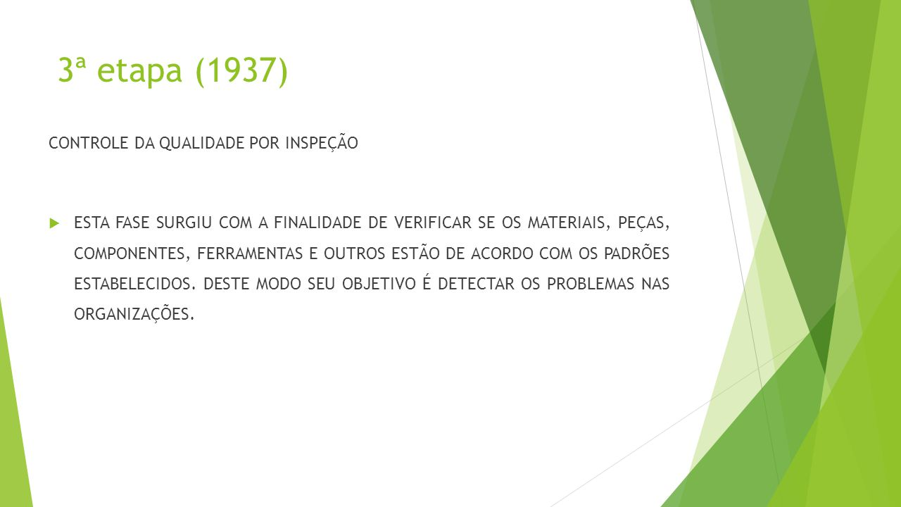 3ª etapa (1937) CONTROLE DA QUALIDADE POR INSPEÇÃO