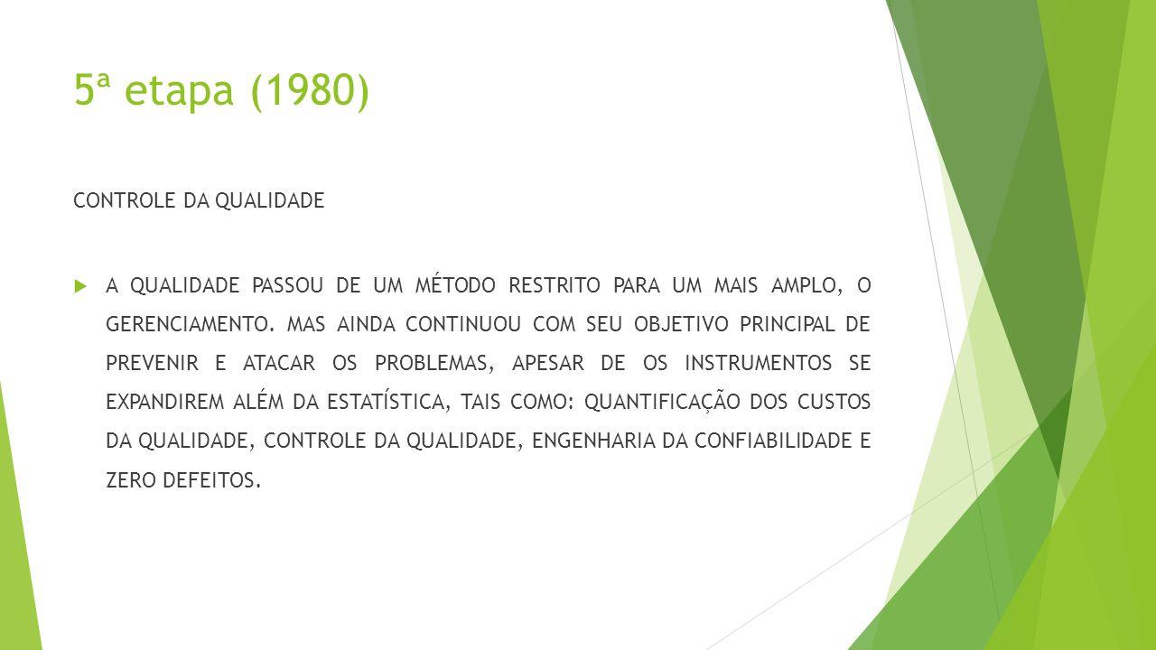 5ª etapa (1980) CONTROLE DA QUALIDADE