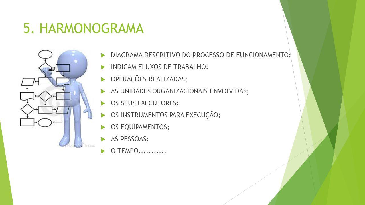 5. HARMONOGRAMA DIAGRAMA DESCRITIVO DO PROCESSO DE FUNCIONAMENTO;