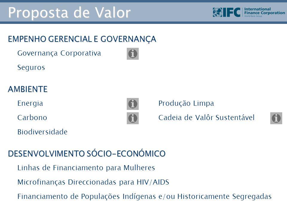 Proposta de Valor EMPENHO GERENCIAL E GOVERNANÇA AMBIENTE