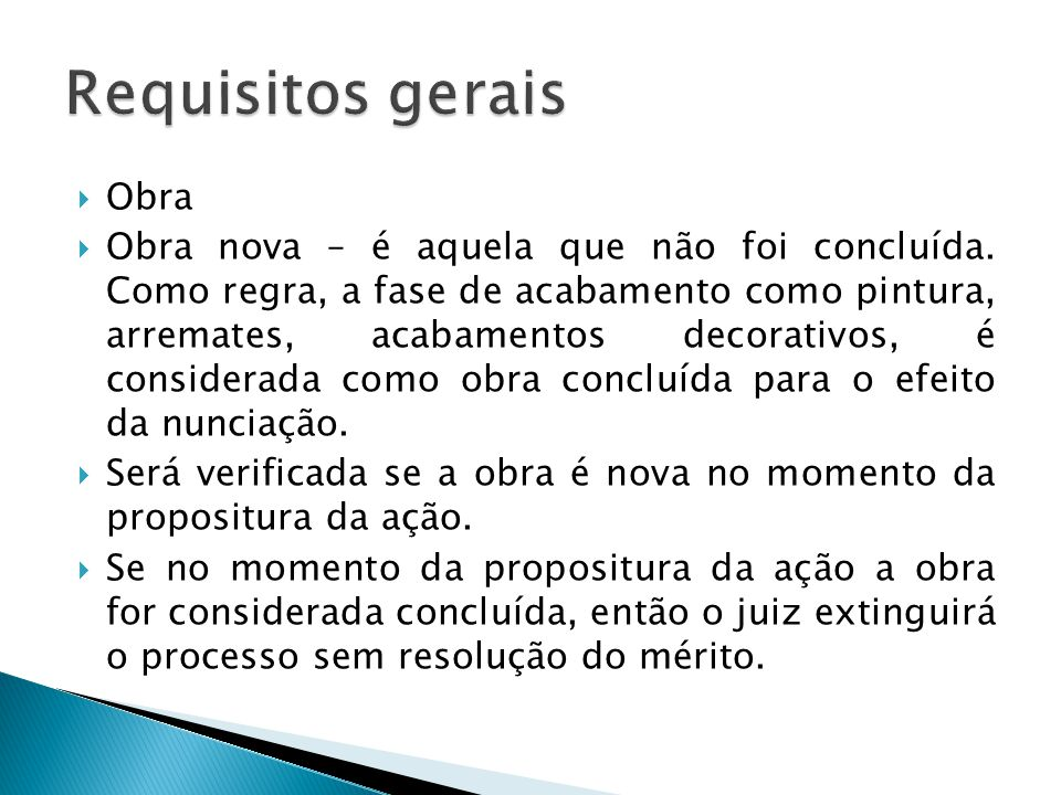 Requisitos gerais Obra