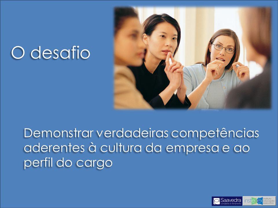 O desafio Demonstrar verdadeiras competências aderentes à cultura da empresa e ao perfil do cargo.