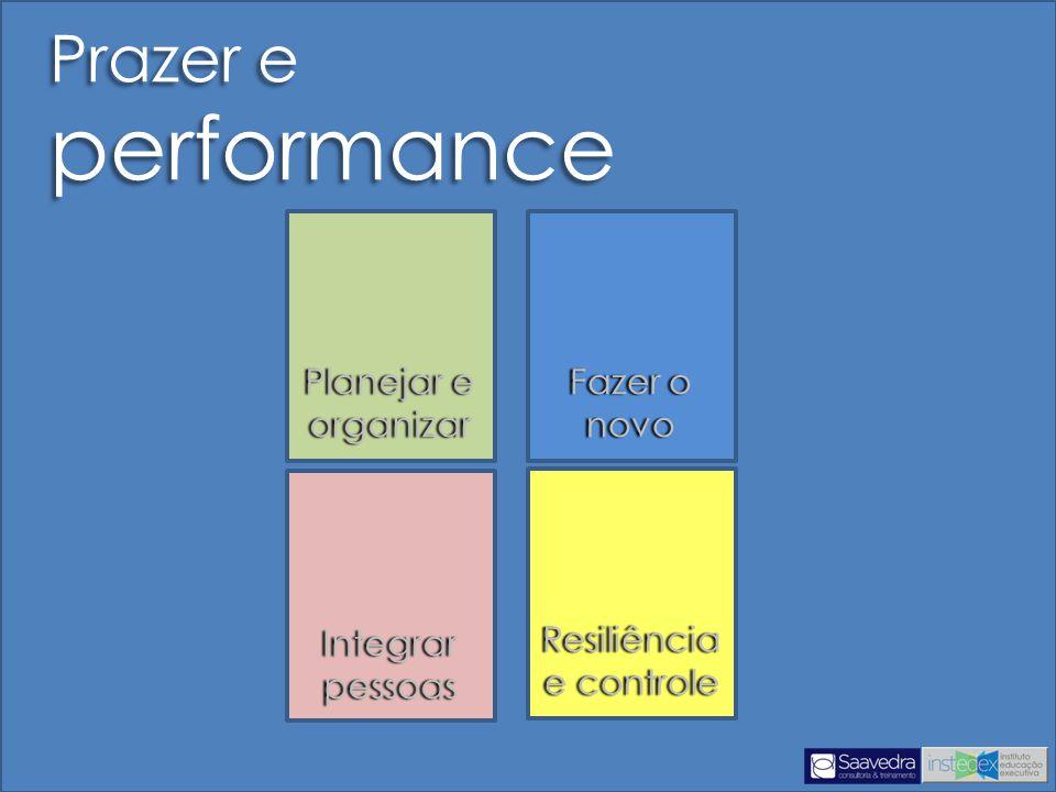 Prazer e performance Planejar e organizar Fazer o novo