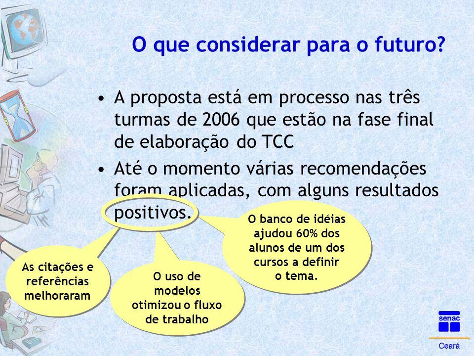 O que considerar para o futuro