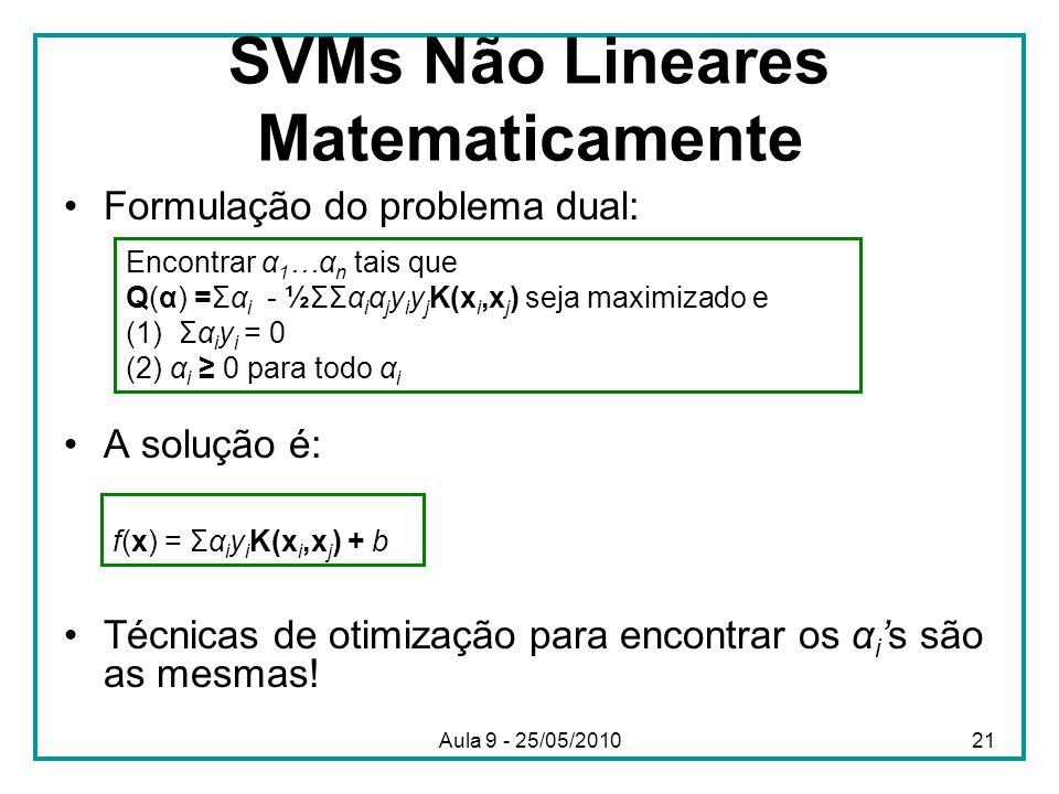 SVMs Não Lineares Matematicamente