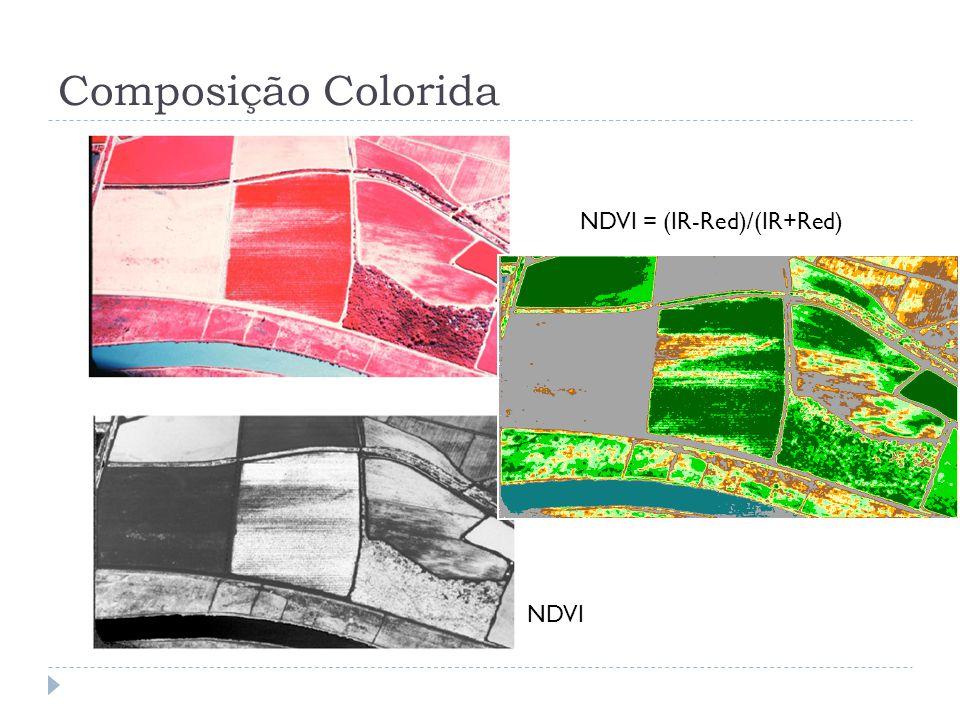 Composição Colorida NDVI = (IR-Red)/(IR+Red) NDVI