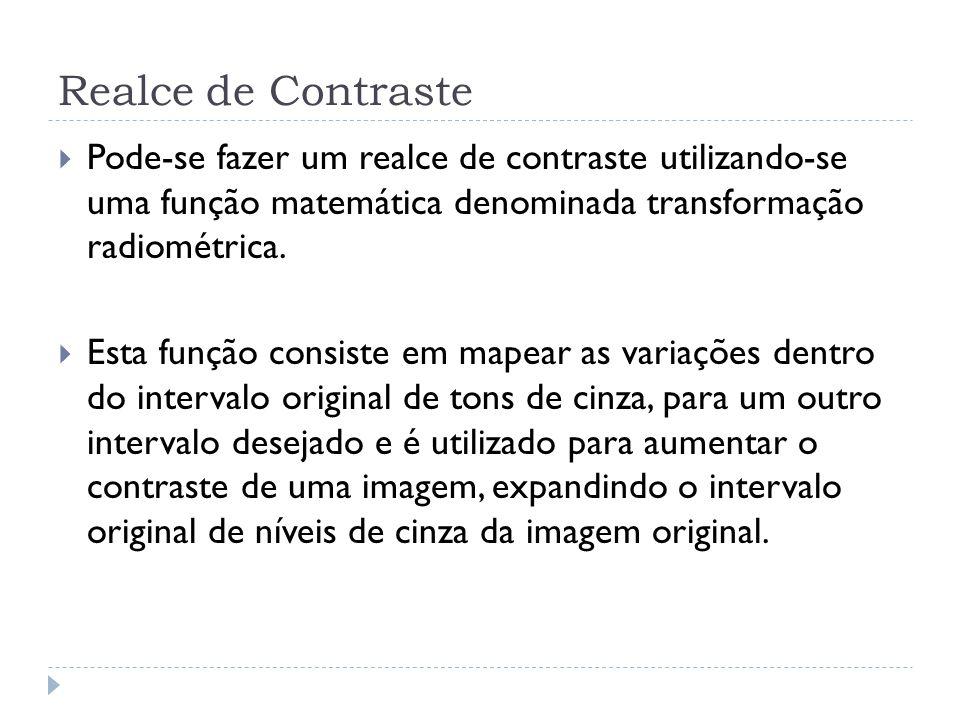 Realce de Contraste Pode-se fazer um realce de contraste utilizando-se uma função matemática denominada transformação radiométrica.